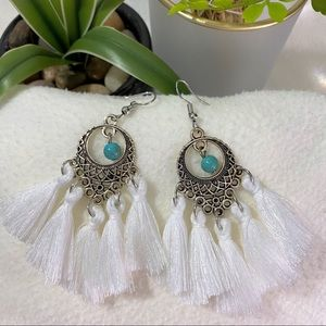 NEW Turquoise Bead Faux White Tassel Drop Earrings